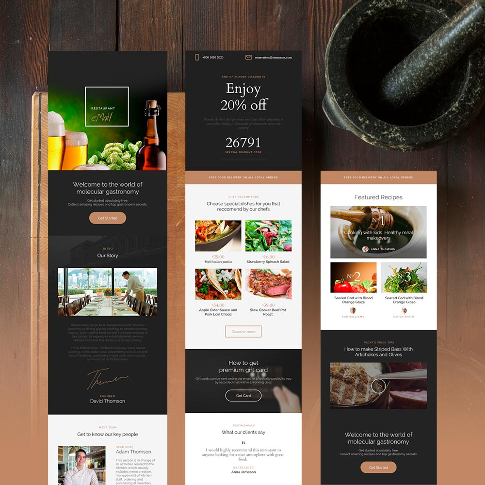 restaurant email template is unique ready-to-use solution to promote your cafe, bar or restaurant.
