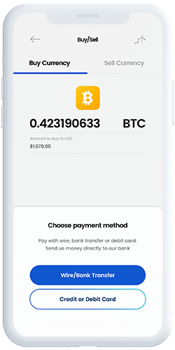 Buy/Sell Cryptocurrency: Choose payment Method