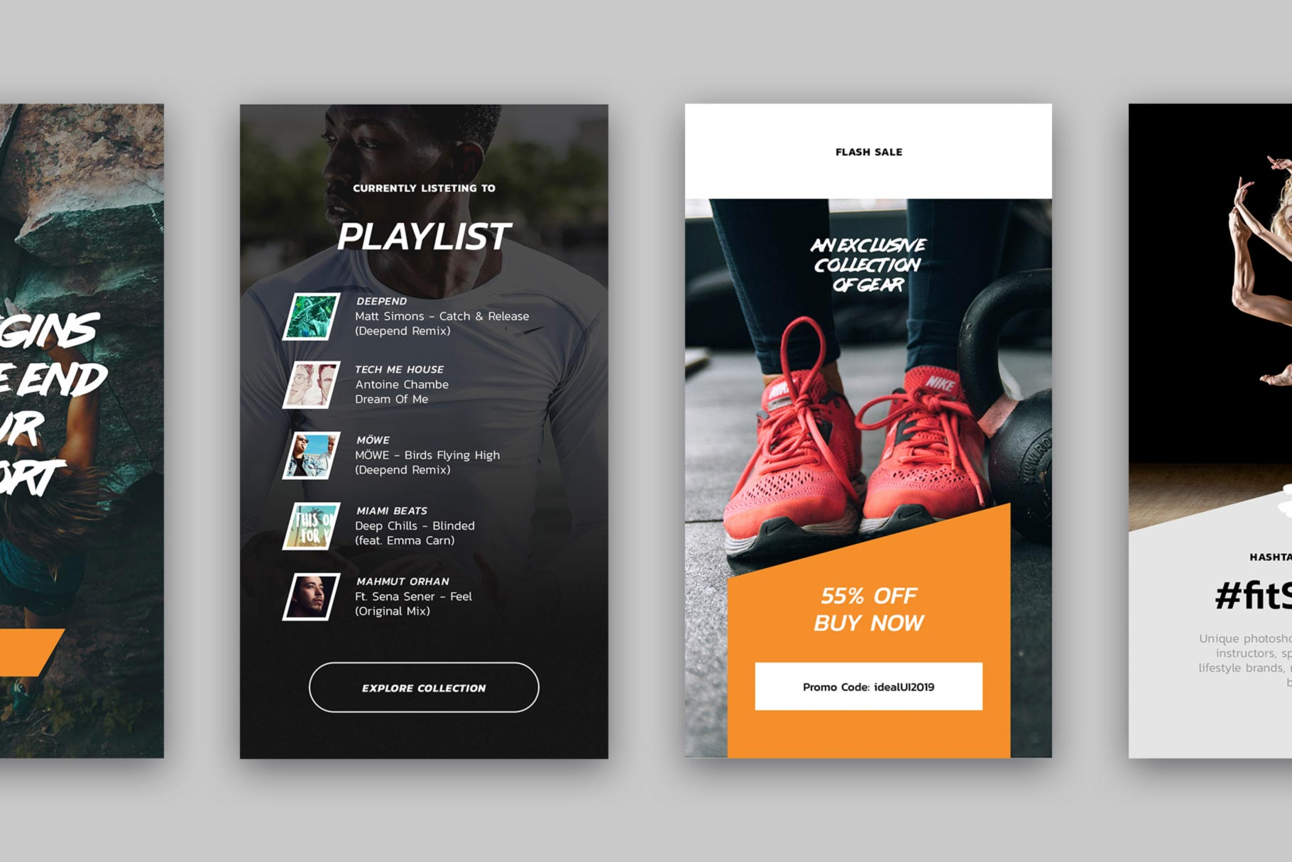 Use these story templates to promote your workout program or share important news or announcements with your followers. It's a versatile range to give you flexibility and suit your different social needs. Our carefully crafted Instagram stories are perfect to promote fitness products, workout programs, recommendations, events or important notices such as exclusive sales, announcements, careers.